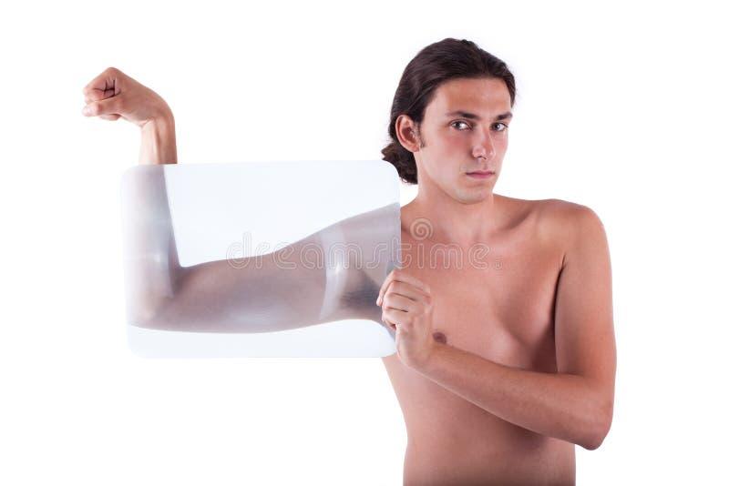Schlanker Junger Mann, Der Ohne Hemd Biegt Lizenzfreie Stockbilder