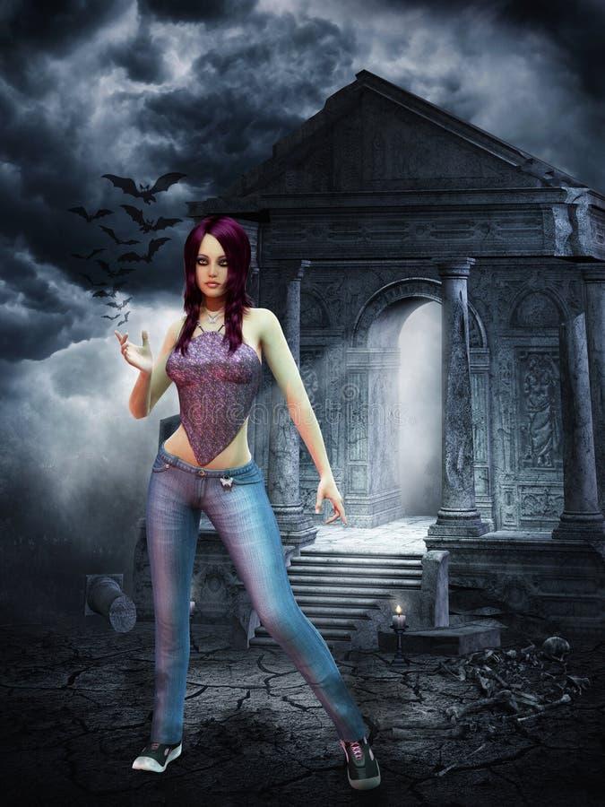 Schlankes purpurrotes behaartes Vampirsmädchen stockbild