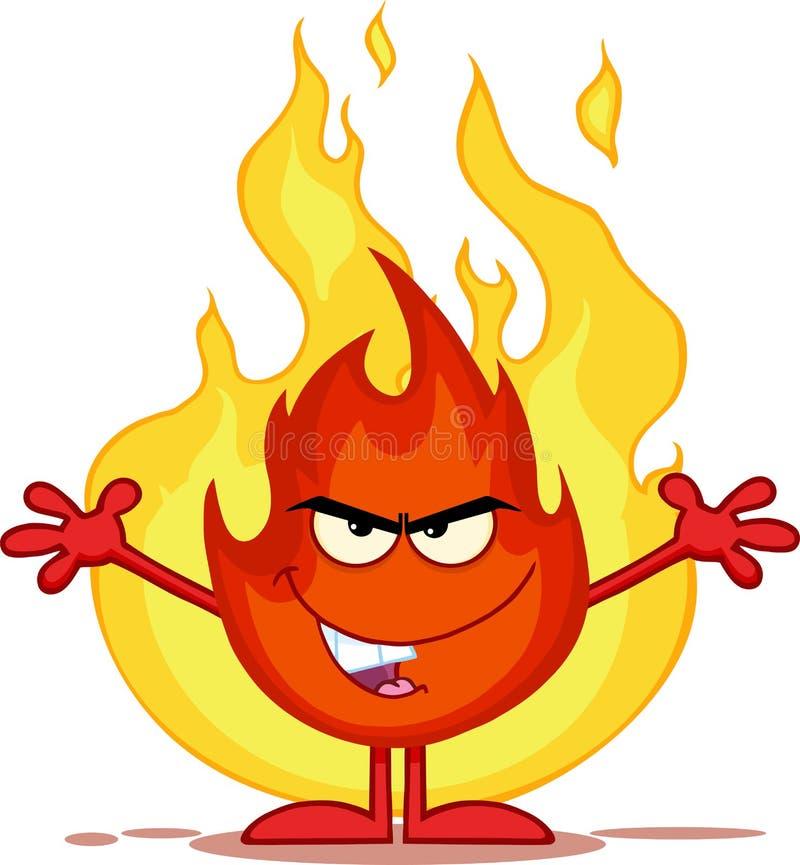 Schlechte Feuer-Zeichentrickfilm-Figur mit offenen Waffen in Front Of Flames vektor abbildung