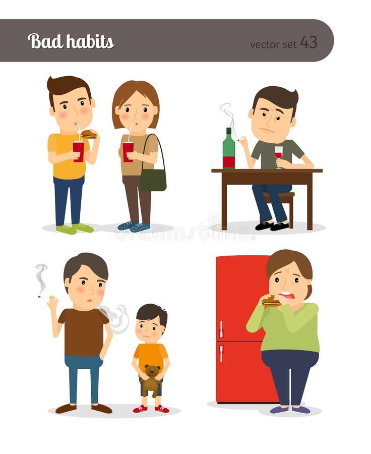 Schlechte Gewohnheiten Trunkenheit und Zu viel essen stock abbildung