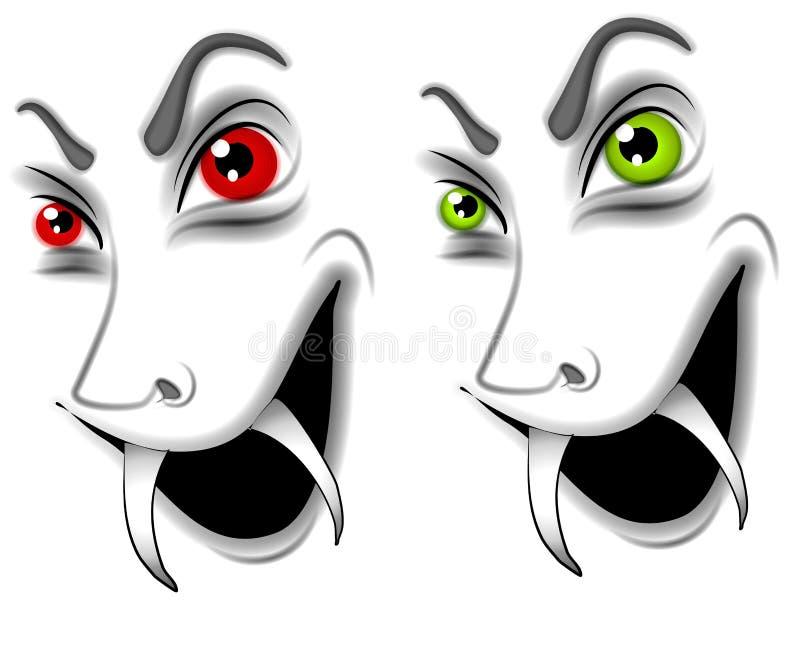 Schlechte Halloween-Vampir-Gesichter vektor abbildung