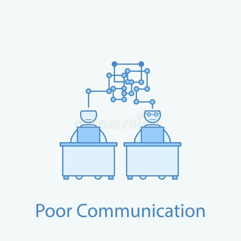 schlechte Kommunikation mit farbiger Linie Ikone des Kollegen 2 Einfache Illustration des farbigen Elements Entwurfssymboldesign  lizenzfreie abbildung