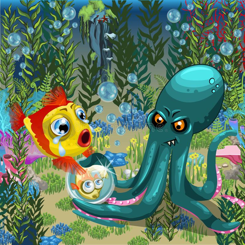 Schlechte Krake beraubt Fische von ihrem Kind Ein Plakat auf dem Thema der Einwohner von Meeren und von Ozeanen Auch im corel abg vektor abbildung