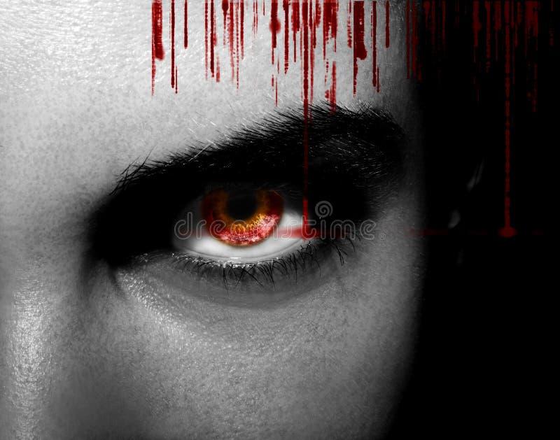 Schlechte schwarze ausländische Vampirs- oder Zombieaugen Schließen Sie herauf Schuss stockfotos