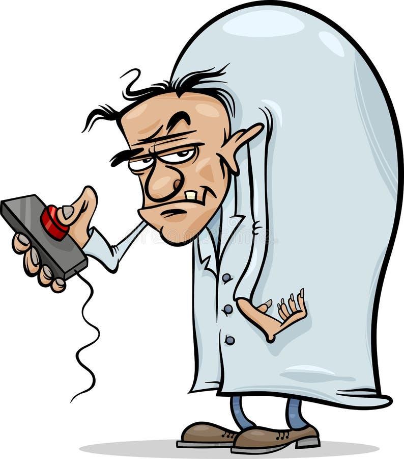 Schlechte Wissenschaftlerkarikaturillustration stock abbildung