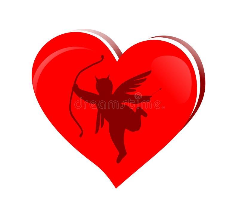 Schlechter Amor mit Herzen vektor abbildung
