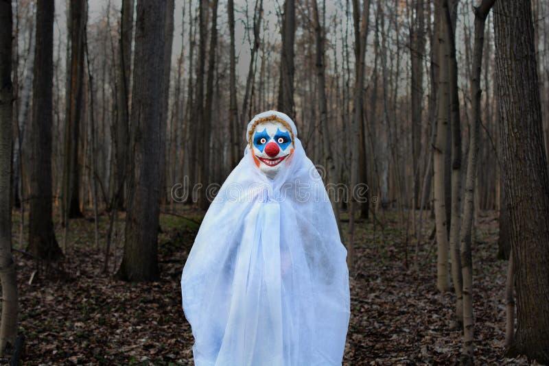 Schlechter Clown in einem dunklen Wald in einem weißen Schleier stockbild