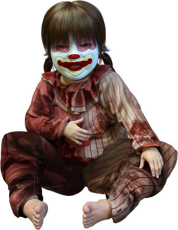 Schlechter Clown Halloween Doll Isolated, furchtsam stock abbildung