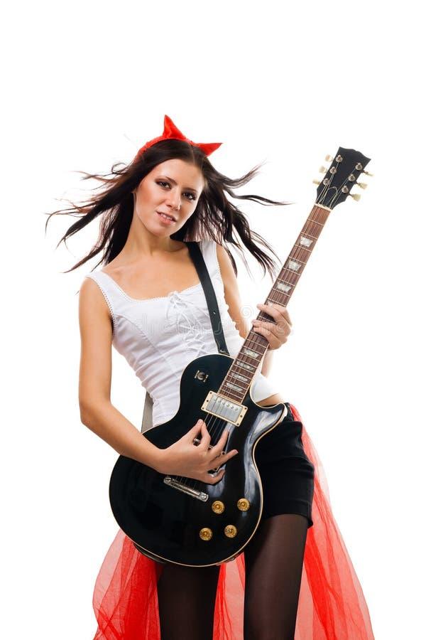 Schlechter Frauen-Rockstargitarrist stockfotografie