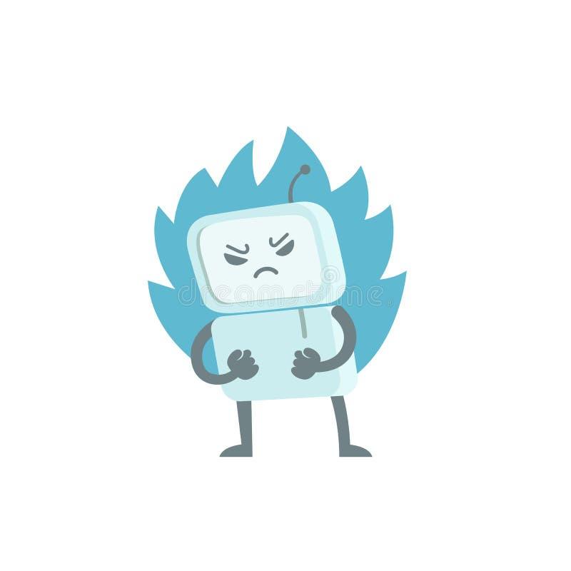 Schlechter Roboter im Ärger mit den Fäusten und Feuer Charaktervirus Botschleppangel Erzürnter Computer Flache Farbvektorillustra vektor abbildung