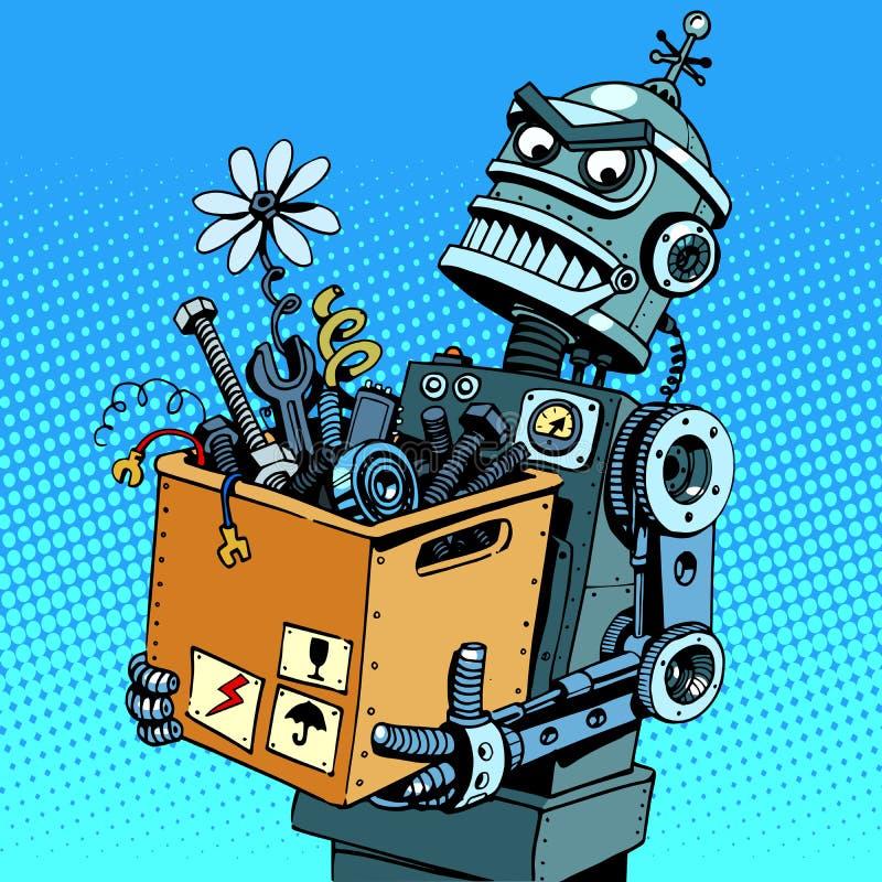 Schlechter Roboter kommt zu arbeiten lizenzfreie abbildung