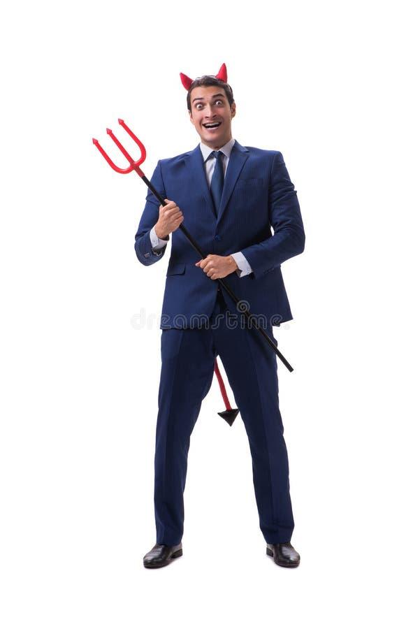 Schlechter Teufelgeschäftsmann mit der Heugabel lokalisiert auf weißem backgrou lizenzfreies stockbild