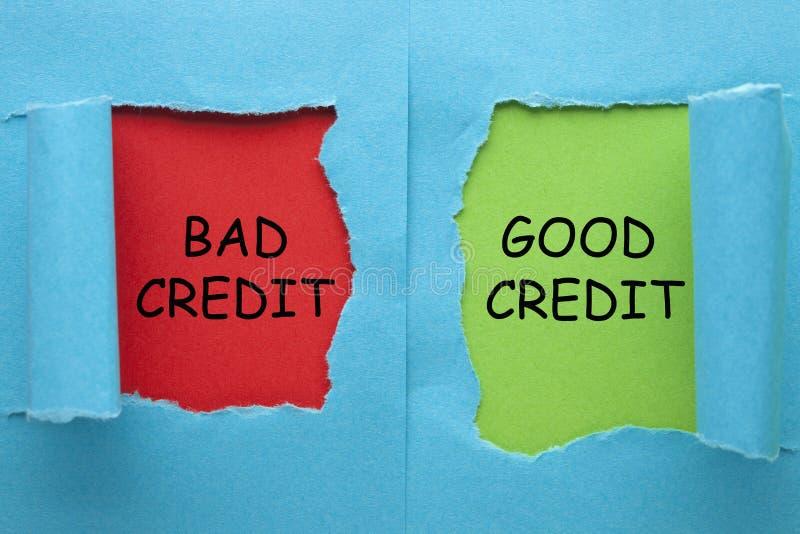 Schlechter und guter Kredit stockfoto