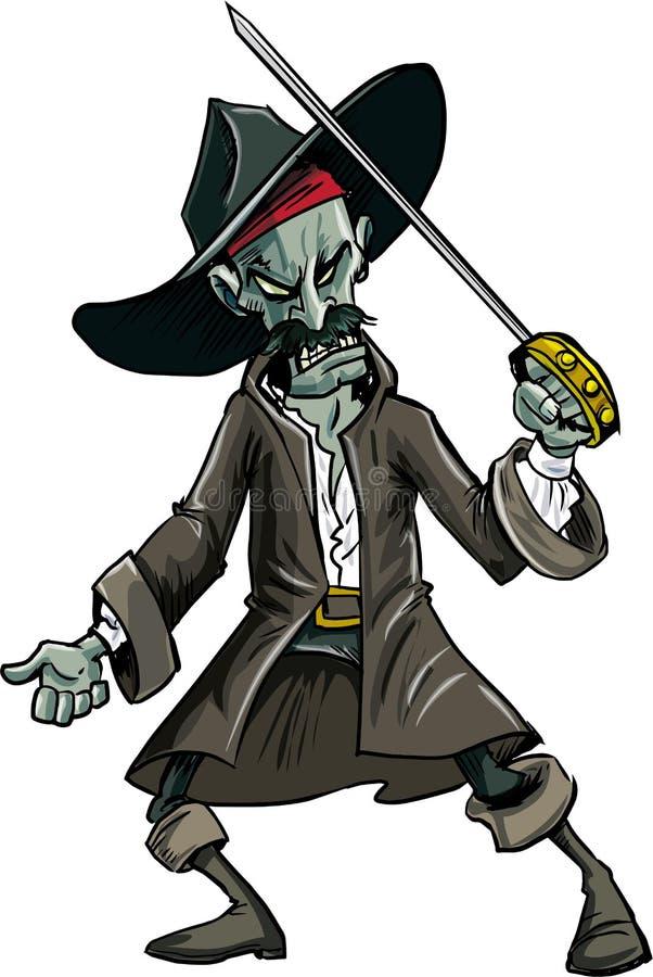 Schlechter Zombiepirat der Karikatur vektor abbildung