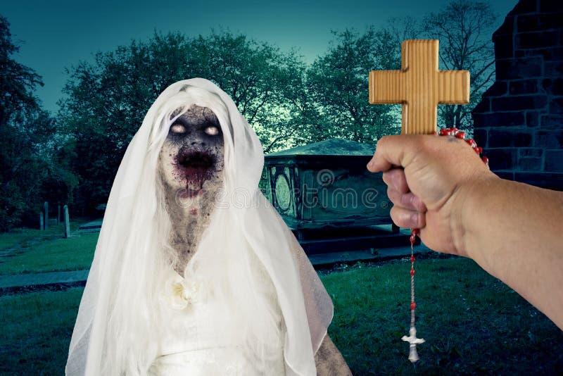 Schlechtes Dämon-Zombie-Geist-Monster im Friedhof vektor abbildung