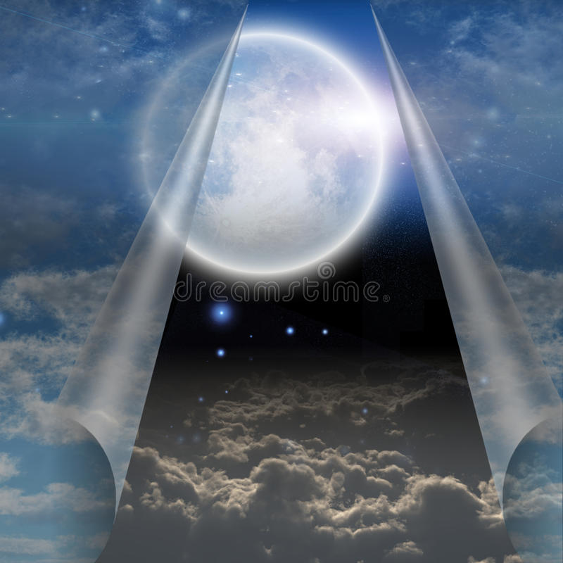 Schleier von Himmel gezogenem aufzudecken offenem vektor abbildung