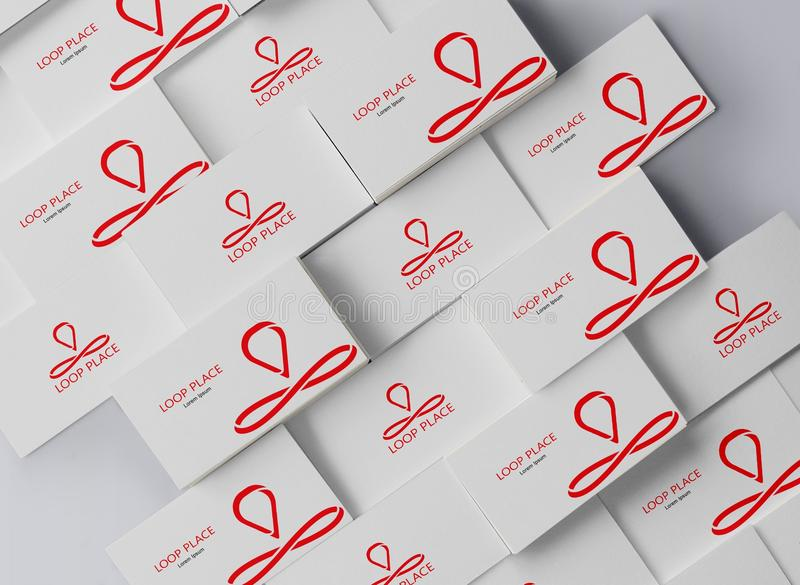 Schleifen-Platz-Kartenname Logo Design stockbild