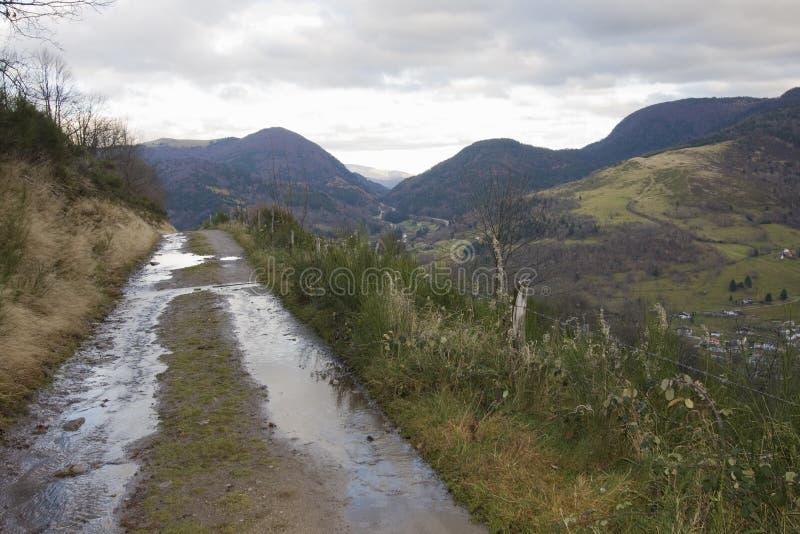 Schleppen Sie auf dem Weg zu COL DE BUSSANG, Vosges, Frankreich lizenzfreie stockfotos