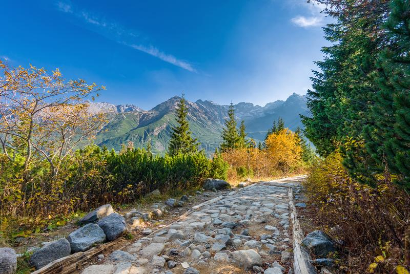 Schleppen Sie zu Hala Gasienicowa, Tatra-Berge, Polen lizenzfreies stockfoto