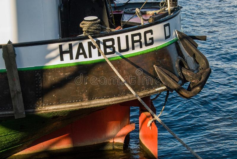 Schlepper tractor boat in Hamburg. Anchor closeup royalty free stock photo