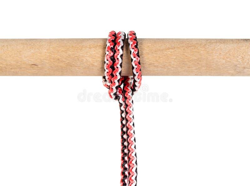 Schlepperproblemknoten gebunden auf synthetischem Seil lizenzfreies stockfoto