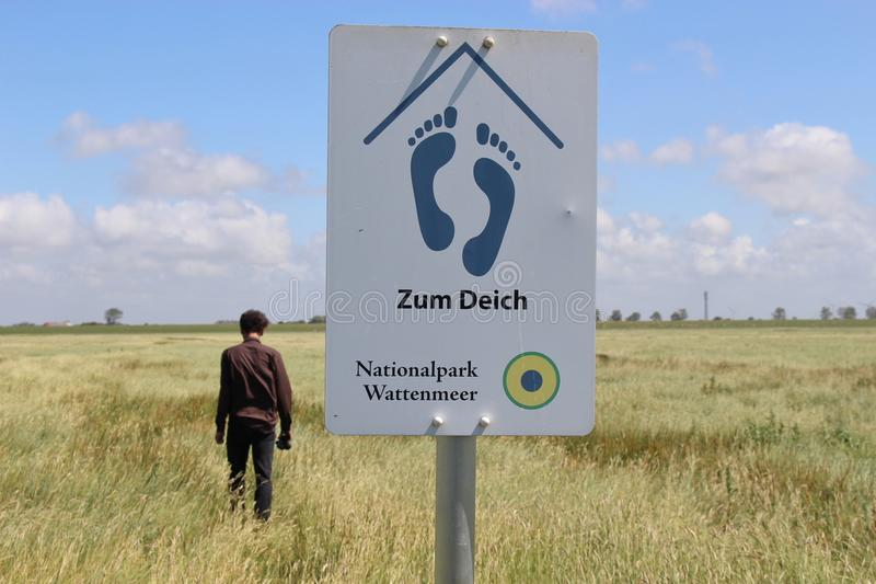 In the Schleswig-Holstein National Park, Northern Germany. A man walks towards the of Friedrichskoog, in the Schleswig-Holstein National Park, Northern Germany stock image
