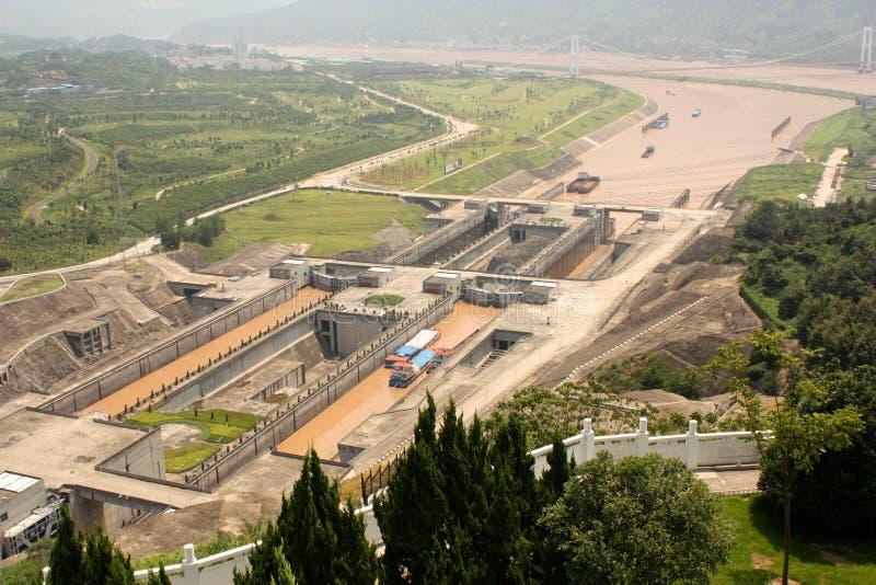 Schleusen von Three Gorge Dam stockfotos