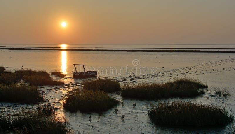 Schlickwatt, Deutscher Nordsee nahe Greetsiel, Deutschland lizenzfreie stockfotos