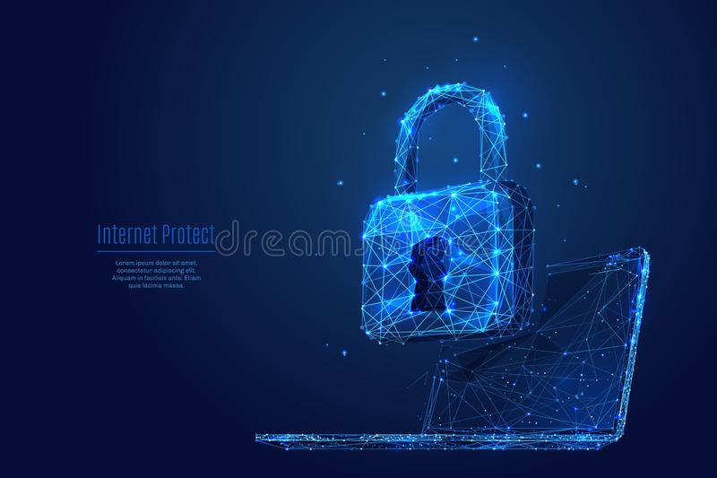 Schließen Sie auf Laptop zu Daten sich schützen und sichern stock abbildung
