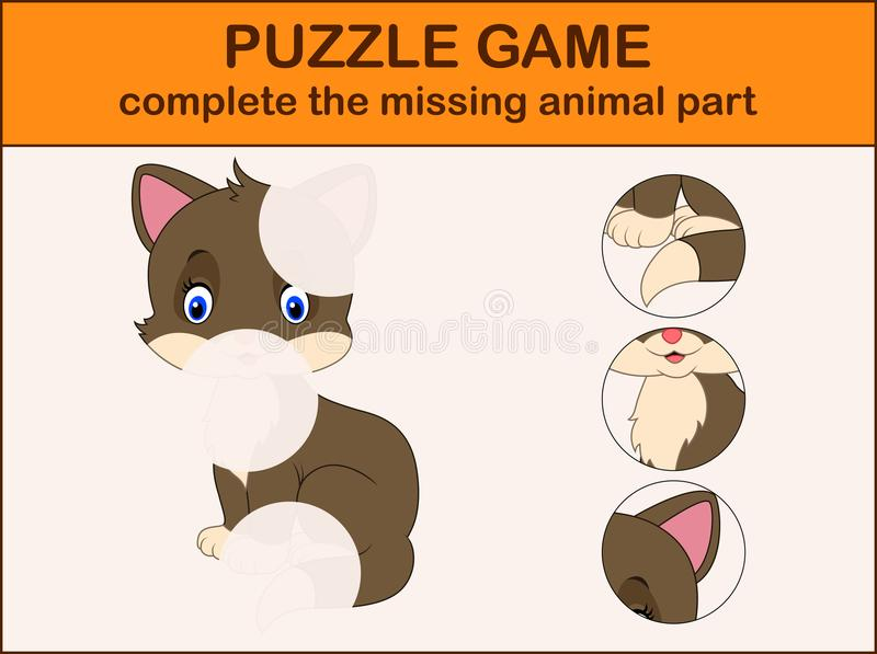 schließen Sie das Puzzlespiel ab und finden Sie die fehlenden Teile des Bildes lizenzfreie abbildung