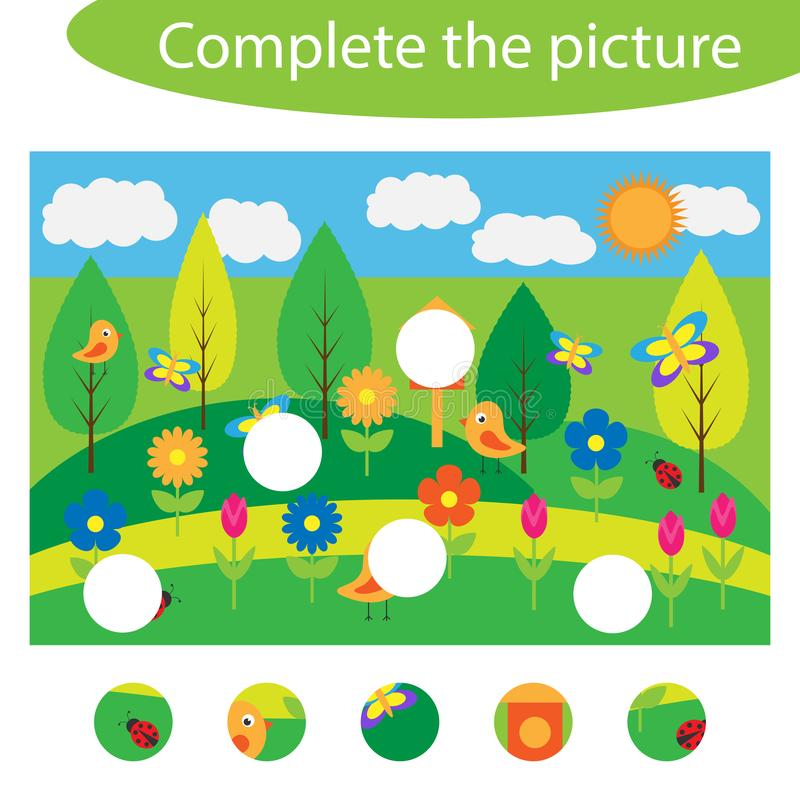 Schließen Sie das Puzzlespiel ab und finden Sie die fehlenden Teile des Bildes, Frühlingsspaß-Ausbildungsspiel für Kinder, Vorsch vektor abbildung