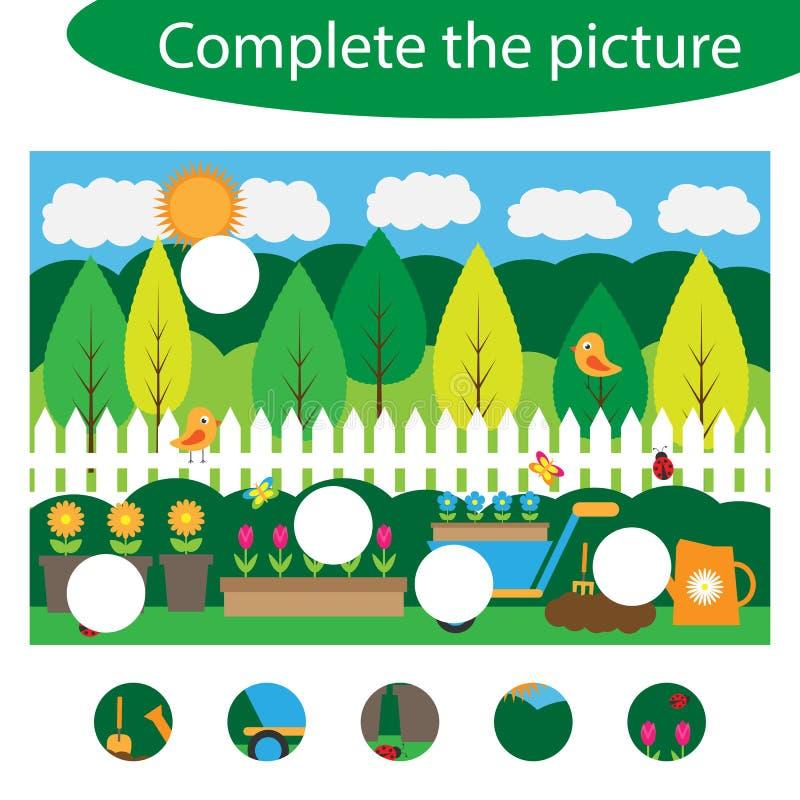 Schließen Sie das Puzzlespiel ab und finden Sie die fehlenden Teile des Bildes, Gartenspaß-Ausbildungsspiel für Kinder, Vorschula lizenzfreie abbildung