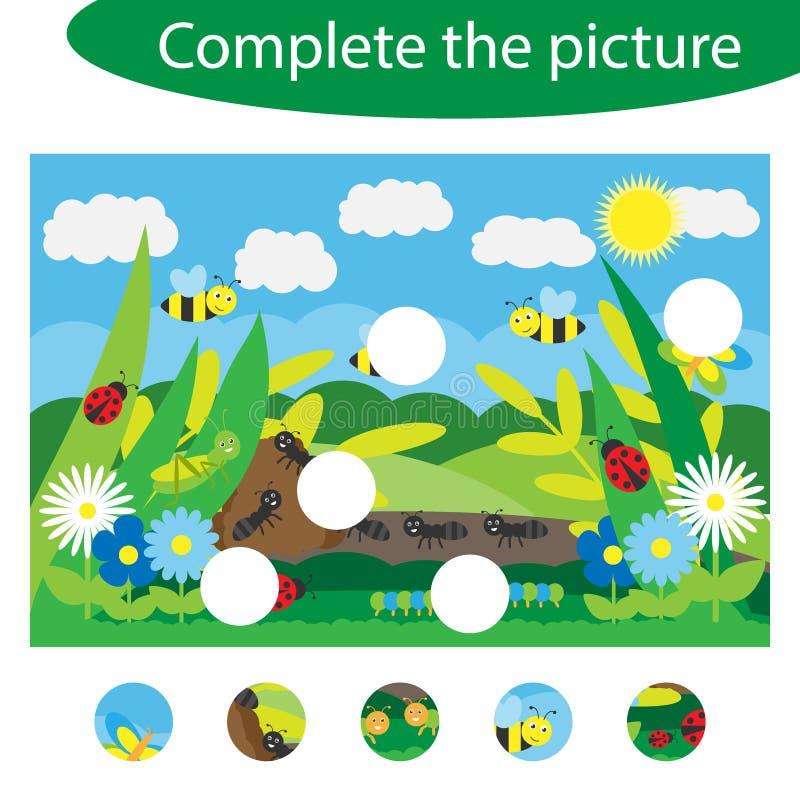 Schlie?en Sie das Puzzlespiel ab und finden Sie die fehlenden Teile des Bildes, Insektenspa?-Ausbildungsspiel f?r Kinder, Vorschu lizenzfreie abbildung
