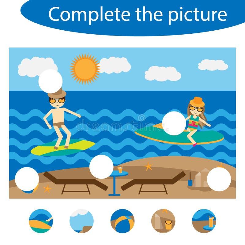 Schließen Sie das Puzzlespiel ab und finden Sie die fehlenden Teile des Bildes, Sommerstrandspaß-Ausbildungsspiel für Kinder, Vor stock abbildung