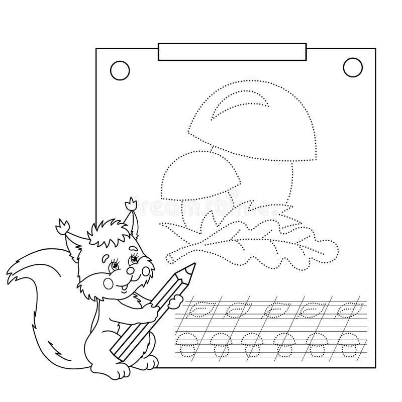 Schließen Sie die Punktbild- und -farbtonseite an Spurarbeitsblatt Puzzlespiel für Kinder stock abbildung