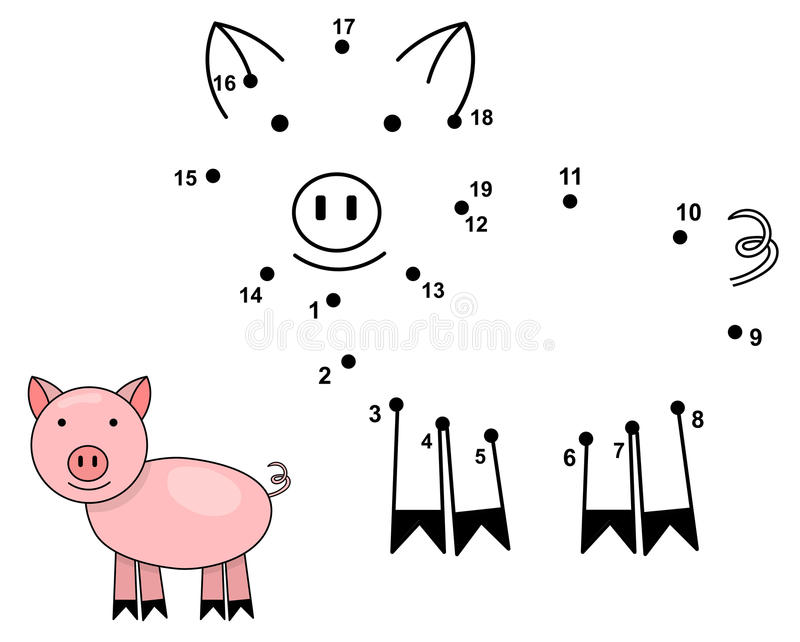 Schließen Sie die Punkte an, um das nette Schwein zu zeichnen Pädagogisches Zahlenspiel stock abbildung