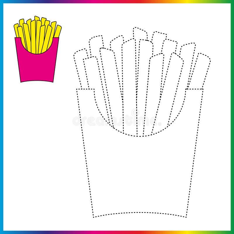 Schließen Sie die Punkte und die Farbtonseite an Arbeitsblatt - Spiel für Kinder Wiederherstellungsausgestrichene linie - Spurnsp stock abbildung