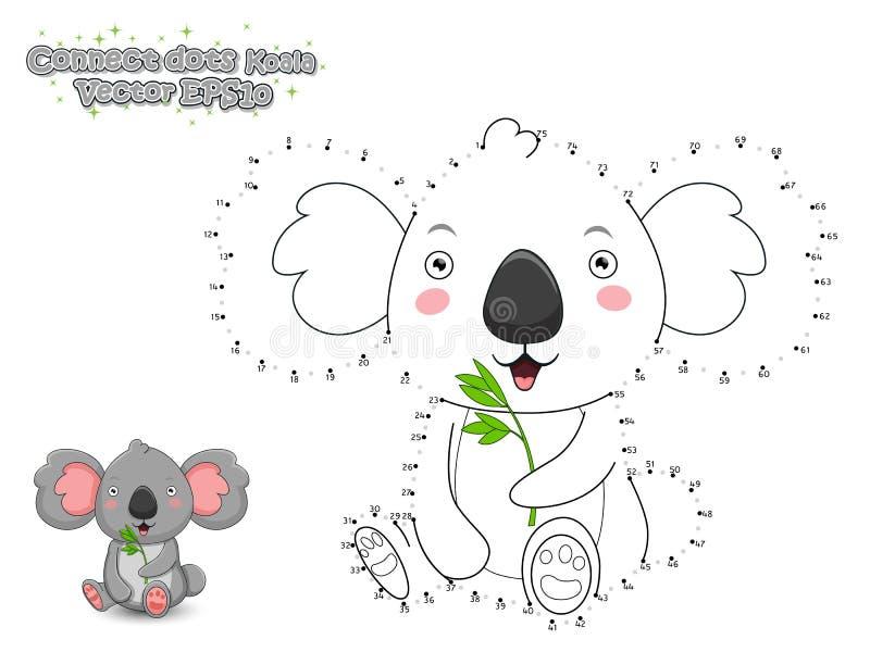 Schließen Sie die Punkte an und zeichnen Sie netten Karikatur-Koala Lernspiel f lizenzfreie abbildung