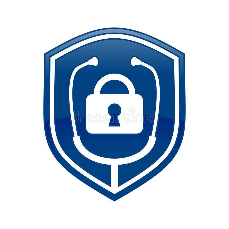 Schließen Sie Doktor Shield Logo Blue Symbol Design zu lizenzfreie abbildung