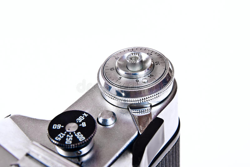 Schließen Sie herauf Ansicht der alten Retro- Kamera auf weißem Hintergrund stockfotos