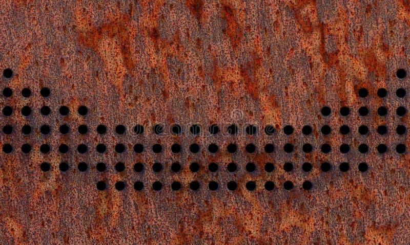 Schließen Sie herauf Ansicht der perforierten braunen Metallfassade Löcher bilden eine gekrümmte Linie lizenzfreie stockbilder