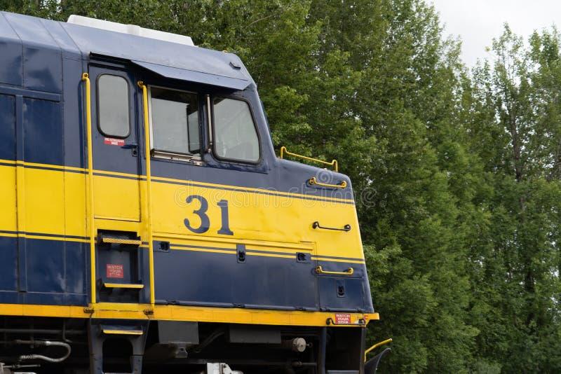 Schließen Sie herauf Ansicht des Alaska-Eisenbahnschienenfahrzeugs stockfoto