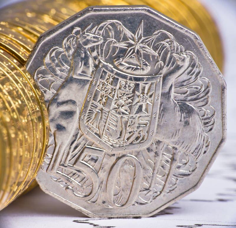 Schließen Sie herauf Ansicht des australischen Bargeldes stockfotos