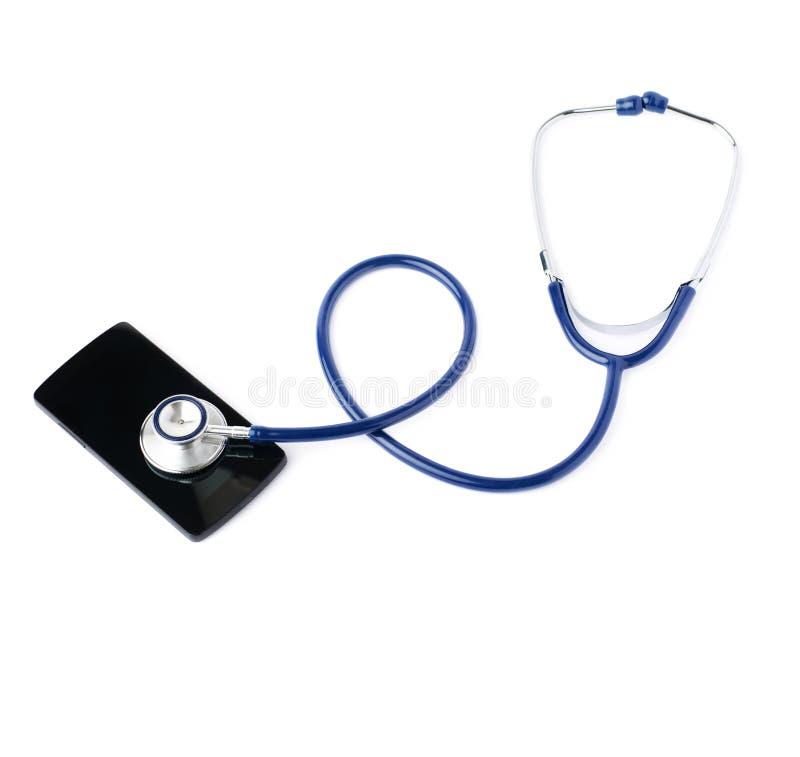 Schließen Sie herauf Ansicht des Stethoskops über lokalisiertem weißem Hintergrund lizenzfreie stockfotos