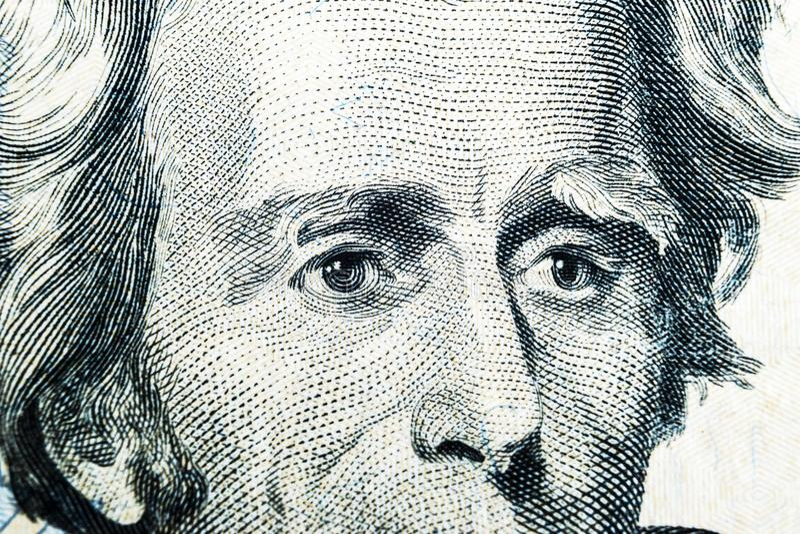 Schließen Sie herauf Ansicht Porträt von Andrew Jackson auf dem einem zwanzig Dollarschein Hintergrund des Geldes 20 Dollarschein stockfotos
