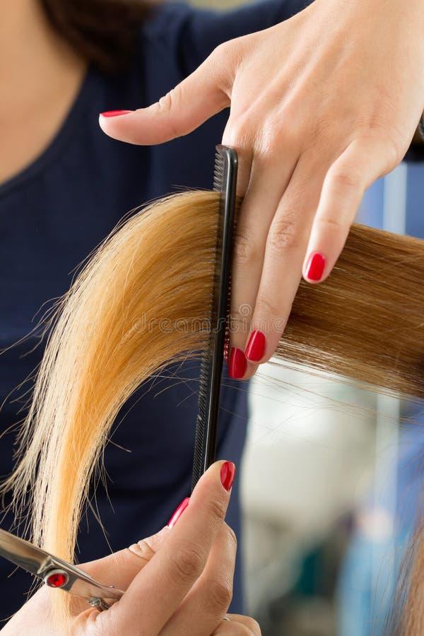 Schließen Sie herauf Ansicht von den weiblichen Friseurhänden, die Haartipps schneiden lizenzfreie stockfotos