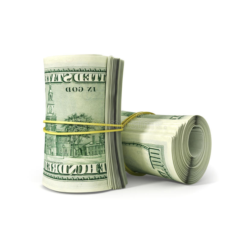 Schließen Sie herauf Bündel Dollar-Papier Bill Rolled mit Gummi, lizenzfreie stockfotografie