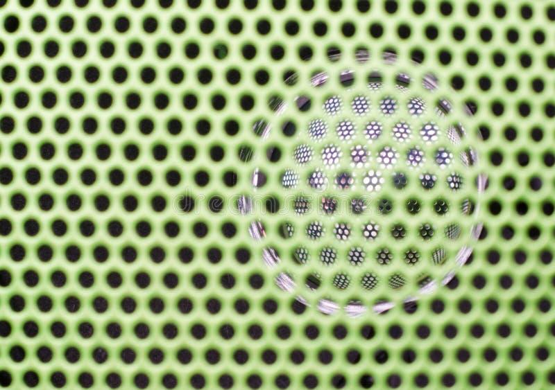 Schließen Sie herauf Beschaffenheit des grünen stichhaltigen Lautsprechers lizenzfreie stockbilder