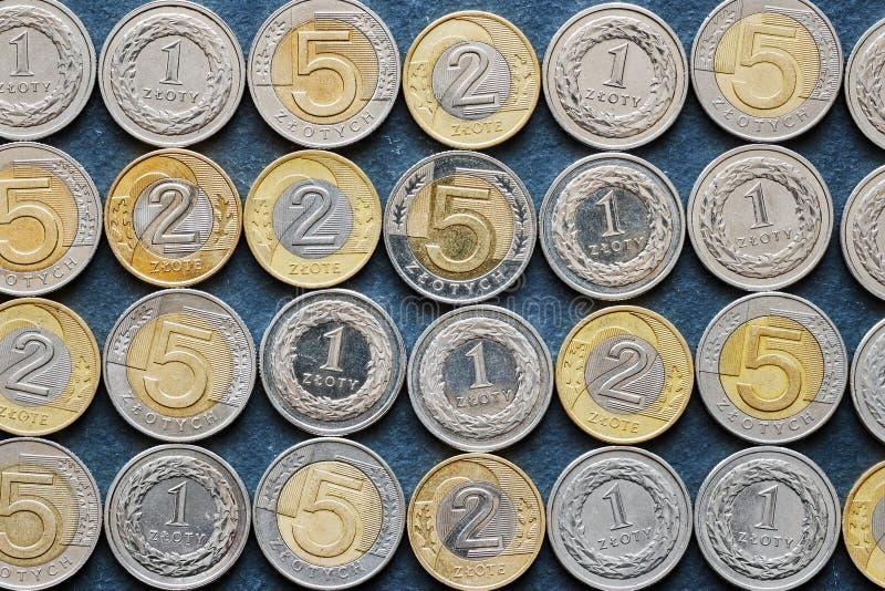 Schließen Sie herauf Bild von polnischen Zlotymünzen lizenzfreies stockbild