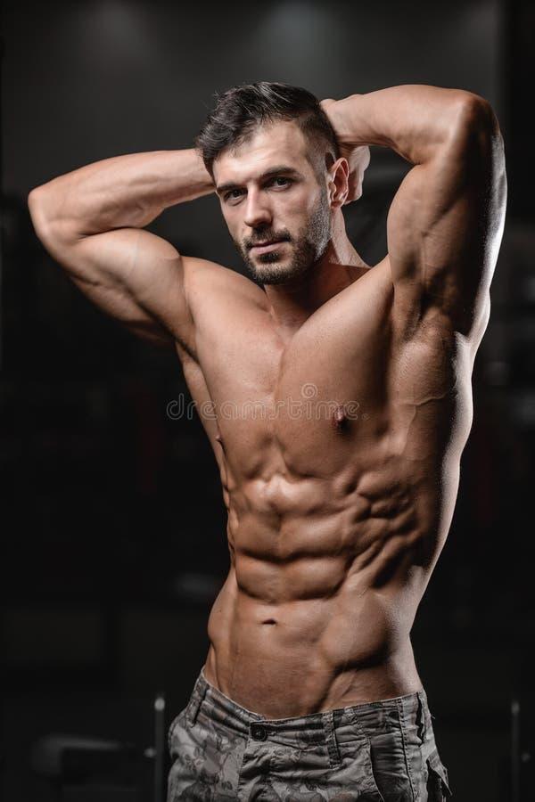 Schließen Sie herauf den starken ABSkerl, der in den Turnhallenmuskeln zeigt stockfotos